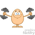 10934 royalty free rf clipart smiling egg cartoon mascot character working out with dumbbells vector illustration gif, png, jpg, eps, svg, pdf