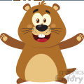 10629 Royalty Free RF Clipart Happy Marmot Cartoon Mascot Character With Open Arms Vector Flat Design