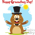 10634 Royalty Free RF Clipart Happy Marmot Cartoon Mascot Character Wearing A Hat And Welcoming With Text And Sunshine Vector Flat Design With Background Isolated On White