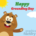 10637 Royalty Free RF Clipart Cute Marmot Cartoon Mascot Character Waving From Corner Vector Flat Design With Background And Text Happy Groundhog Day