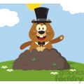 10649 Royalty Free RF Clipart Happy Marmmot Cartoon Mascot Character With Cylinder Hat Waving In Groundhog Day Vector Flat Design With Background