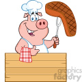 10721 royalty free rf clipart chef pig cartoon mascot character holding a cooked steak on a bbq fork over a wooden sign giving a thumb up vector illustration gif, png, jpg, eps, svg, pdf