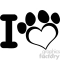 10709 Royalty Free RF Clipart I Love Dog With Black Heart Paw Print Logo Design Vector Illustration