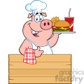 10723 Royalty Free RF Clipart Chef Pig Cartoon Mascot Character Holding A Tray Of Fast Food Over A Wooden Sign Giving A Thumb Up Vector Illustration