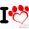 10702 royalty free rf clipart i love dog with red heart paw print logo design vector illustration  gif, png, jpg, eps, svg, pdf