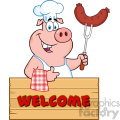 10720 Royalty Free Clipart Chef Pig Cartoon Mascot Character Holding A Sausage On A Bbq Fork Over A Wooden Sign Giving A Thumb Up Vector With Text Welcome