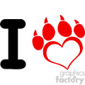 10703 royalty free rf clipart i love dog with red heart paw print with claws logo design vector illustration gif, png, jpg, eps, svg, pdf