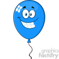 10752 Royalty Free RF Clipart Smiling Blue Balloon Cartoon Mascot Character Vector Illustration