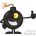 10790 Royalty Free RF Clipart Winking Bomb Cartoon Mascot Character Giving A Thumb Vector Illustration