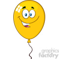 10746 Royalty Free RF Clipart Smiling Yellow Balloon Cartoon Mascot Character Vector Illustration