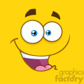 10850 Royalty Free RF Clipart Happy Cartoon Funny Face With Smiling Expression Vector With Yellow Background