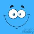 10864 Royalty Free RF Clipart Smiling Cartoon Funny Face With Happy Expression Vector With Blue Background