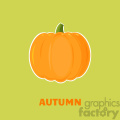 Pumpkin Fruit Cartoon Flat Design Style Vector Illustration With Background And Text Autumn