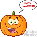 Happy Orange Pumpkin Vegetables Cartoon Emoji Face Character With Expression With Speech Bubble And Text Happy Halloween