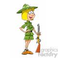 cartoon woman hunter