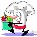 cartoon chef with pot full of vegetables