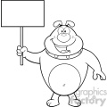 Royalty Free RF Clipart Illustration Black And White Happy Bulldog Cartoon Mascot Character Holding A Blank Sign Vector Illustration Isolated On White Background