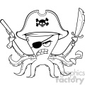 Royalty Free RF Clipart Illustration Black And White Angry Pirate Octopus Cartoon Mascot Character With A Sword Gun And Hook Vector Illustration Isolated On White Background