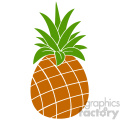 Royalty Free RF Clipart Illustration Pineapple Fruit With Green Leafs Silhouette Simple Flat Design. Vector Illustration Isolated On White Background