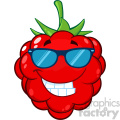 Royalty Free RF Clipart Illustration Smiling Raspberry Fruit Cartoon Mascot Character With Sunglasses Vector Illustration Isolated On White Background