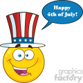 Happy Patriotic Yellow Cartoon Emoji Face Character Wearing A USA Hat With Speech Bubble And Text
