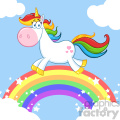 Clipart Illustration Smiling Magic Unicorn Cartoon Mascot Character Running Around Rainbow With Clouds Vector Illustration With Background