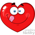 Hungry Red Heart Cartoon Emoji Face Character Licking His Lips Vector Illustration Isolated On White Background