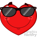 Smiling Red Heart Cartoon Emoji Face Character Wearing Sunglasses Vector Illustration Isolated On White Background