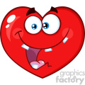 Crazy Red Heart Cartoon Emoji Face Character With Smiling Expression Vector Illustration Isolated On White Background