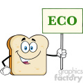 Smiling Bread Slice Cartoon Mascot Character Holding A Sign With Text Eco Vector Illustration Isolated On White Background