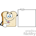 Talking Bread Slice Cartoon Mascot Character Pointing To A Blank Sign Vector Illustration Isolated On White Background