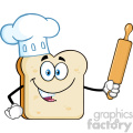 Baker Bread Slice Cartoon Mascot Character With Chef Hat Holding A Rolling Pin Vector Illustration Isolated On White Background