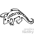 cartoon clipart gecko 001 bw