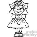 small cute cartoon girl black and white