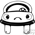black and white car with sad face