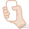 white hand holding phone vector icon