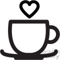 black and white lovely coffee cup with heart steam