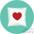 throw pillow with heart for valentines on circle background