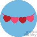 heart banner for valentines on blue background