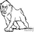 baboon baboons monkey monkeys   anml146_bw clip art animals  gif