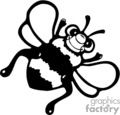country style bee bees bumble yellow   bee001pr_bw clip art animals  gif, eps