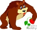 Cartoon bear picking a strawberry