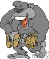 cartoon gorilla playing a guitar