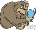 Gorilla trying to read a book