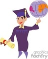 A Man in a Cap and Gown Holding his Diploma and Spinning the Globe