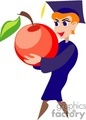 Cartoon student holding an apple wearing a cap and gown