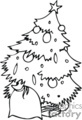 Black and White Decorated Christmas Tree with a Sack Next to it