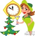 Woman Holding a Glass Counting Down the New Year By a Decorated Christmas Tree