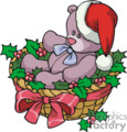 Christmas Bear Wearing a Santa Hat in a Basket Full of Holly Berry
