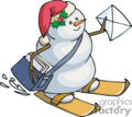 Snowman Mail Carrier on Skies